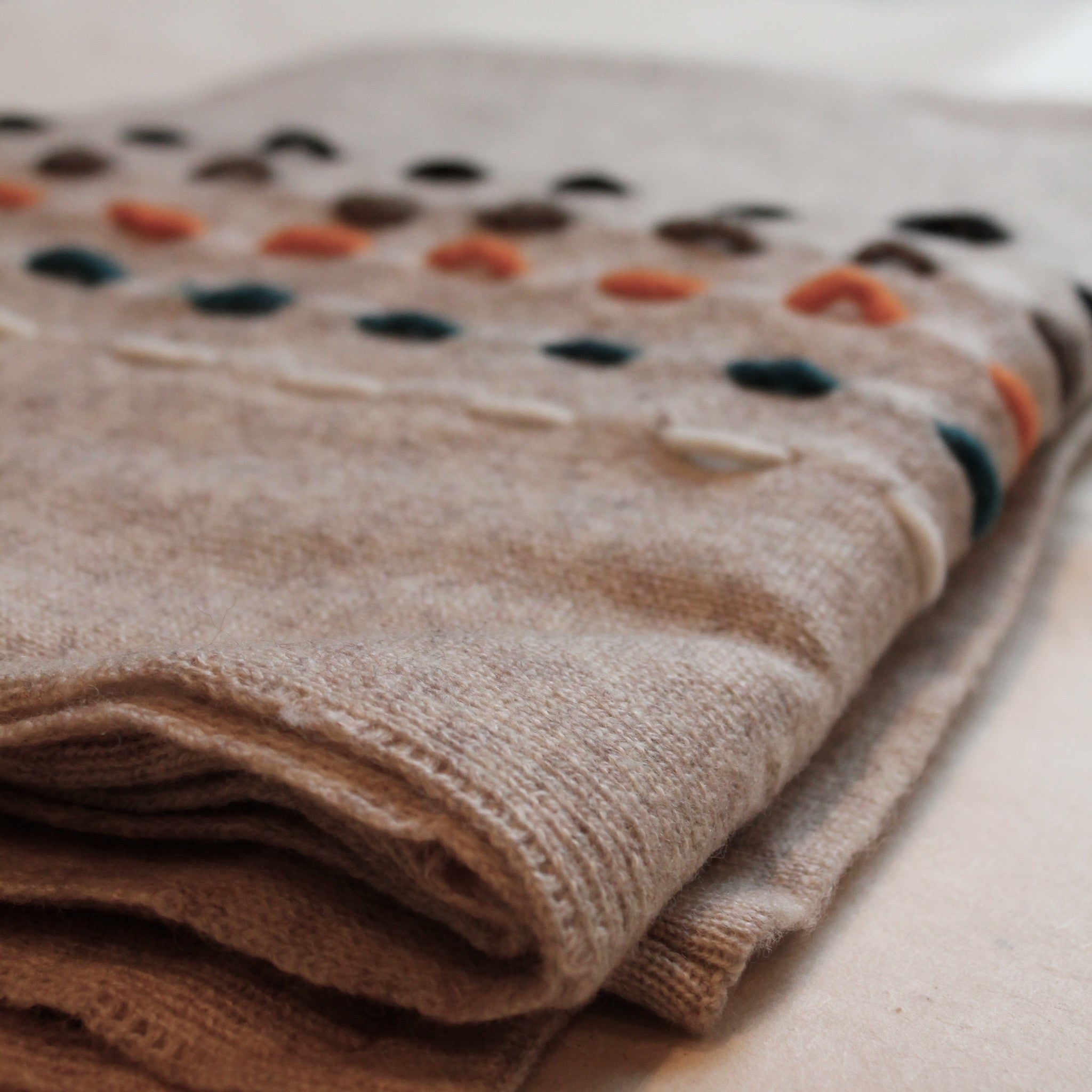 TARA - Cashmere Pancho in Natural handwoven in Nepal by our partner artisans