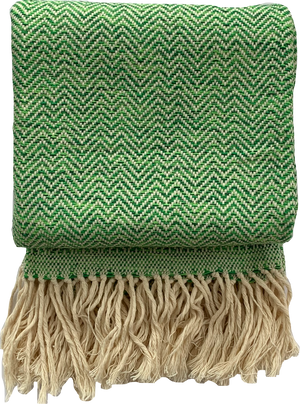 Handmade cotton mixed herringbone throw and blanket handmade by Living Threads Co. artisans in Nicaragua in Emerald