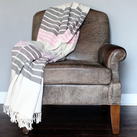 LINEAL Handwoven gradient blanket by Living Threads Co artisans in earth tones - maroon, brown and pink