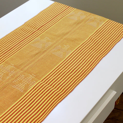 Vero handwoven naturally dyed table runner by Living Threads Co. artisans in Guatemala in Gold