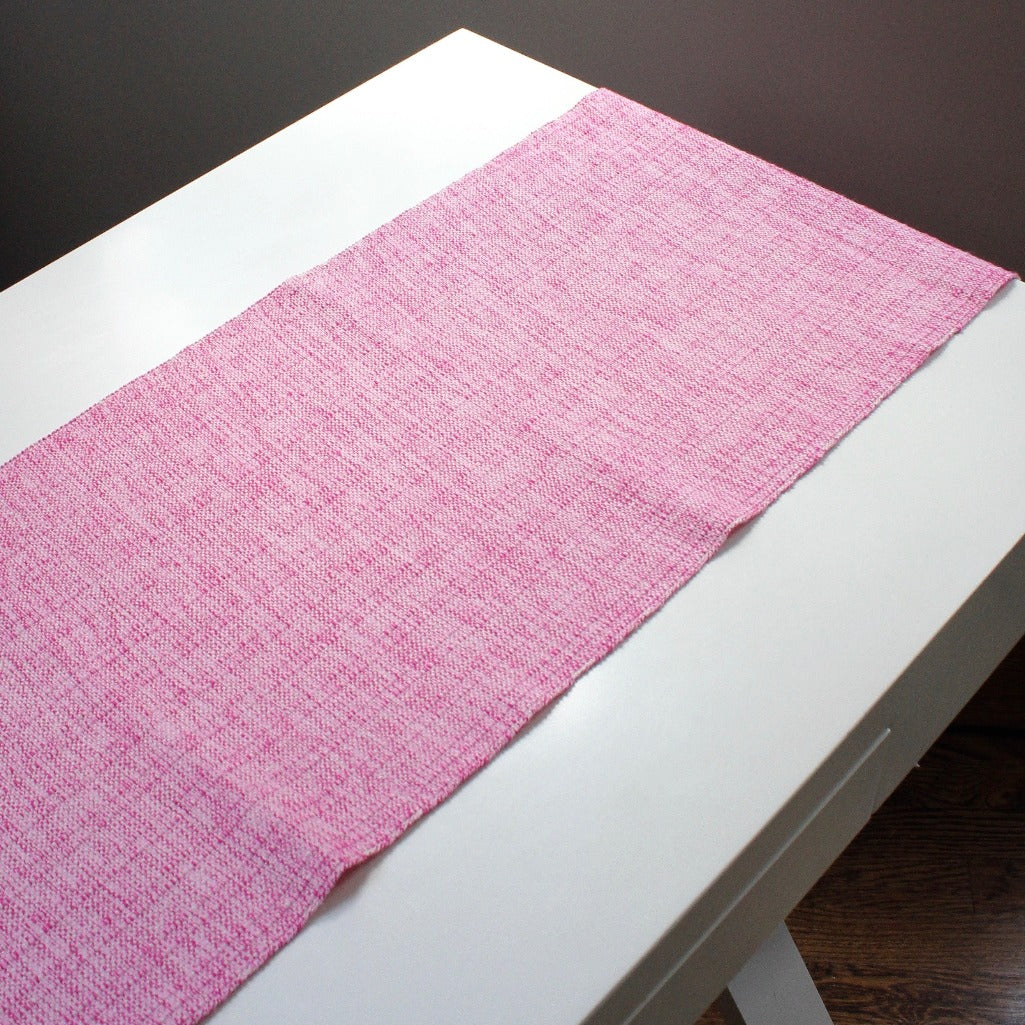 Nicaragua handwoven eco cotton sustainable table runner by living threads co in Pink