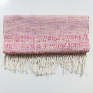 EL OJO cotton hand woven table runner in pink by Living Threads Co.