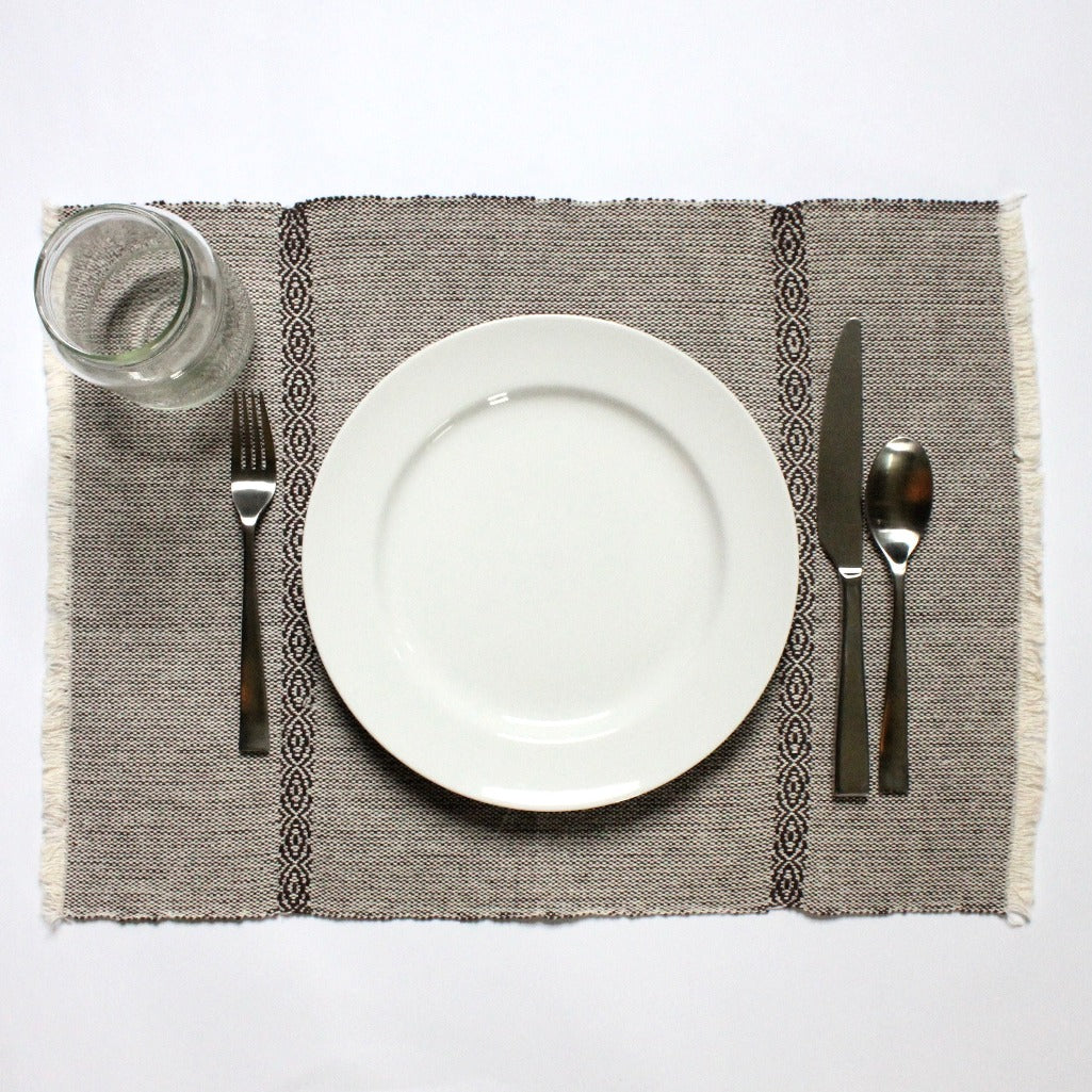 Artisanal 100% ecologically dyed LYN cotton placemats by Nicaraguan Living Threads Co. artisans in Brown