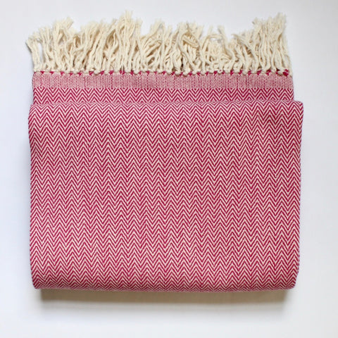 DANELIA Herringbone Blanket cotton handwoven by artisans in Nicaragua by Living Threads Co. in Fuschia