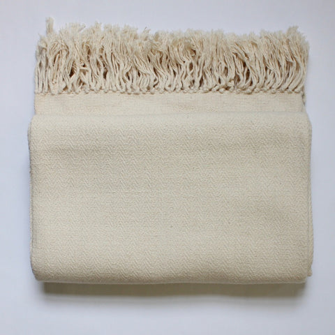 DANELIA Herringbone Blanket cotton handwoven by artisans in Nicaragua by Living Threads Co. in Natural