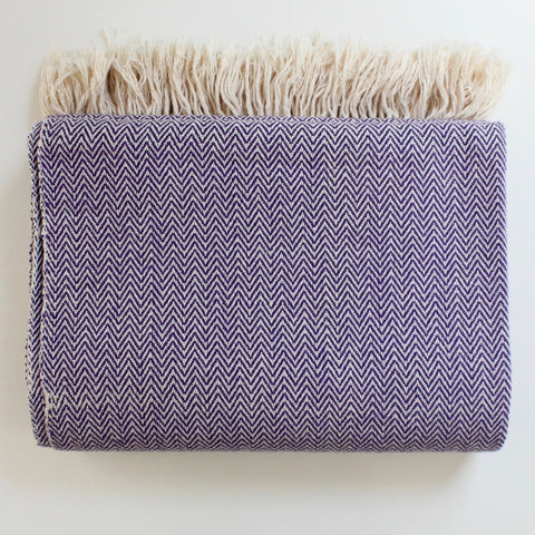 DANELIA Herringbone Blanket cotton handwoven by artisans in Nicaragua by Living Threads Co. in Purple