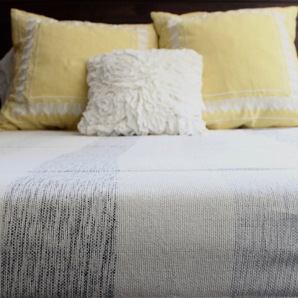 IAM Handwoven cotton queen bed blanket created by Living Threads Co. artisans in Nicaragua in mixed grey stripe