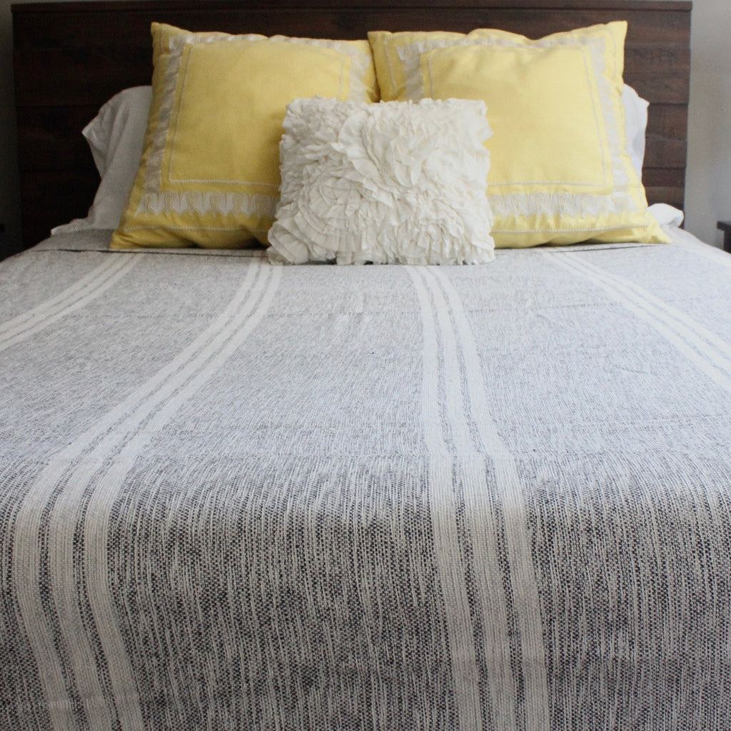 LILIAM Handwoven cotton queen bed blanket created by Living Threads Co. artisans in Nicaragua in Mixed black and grey