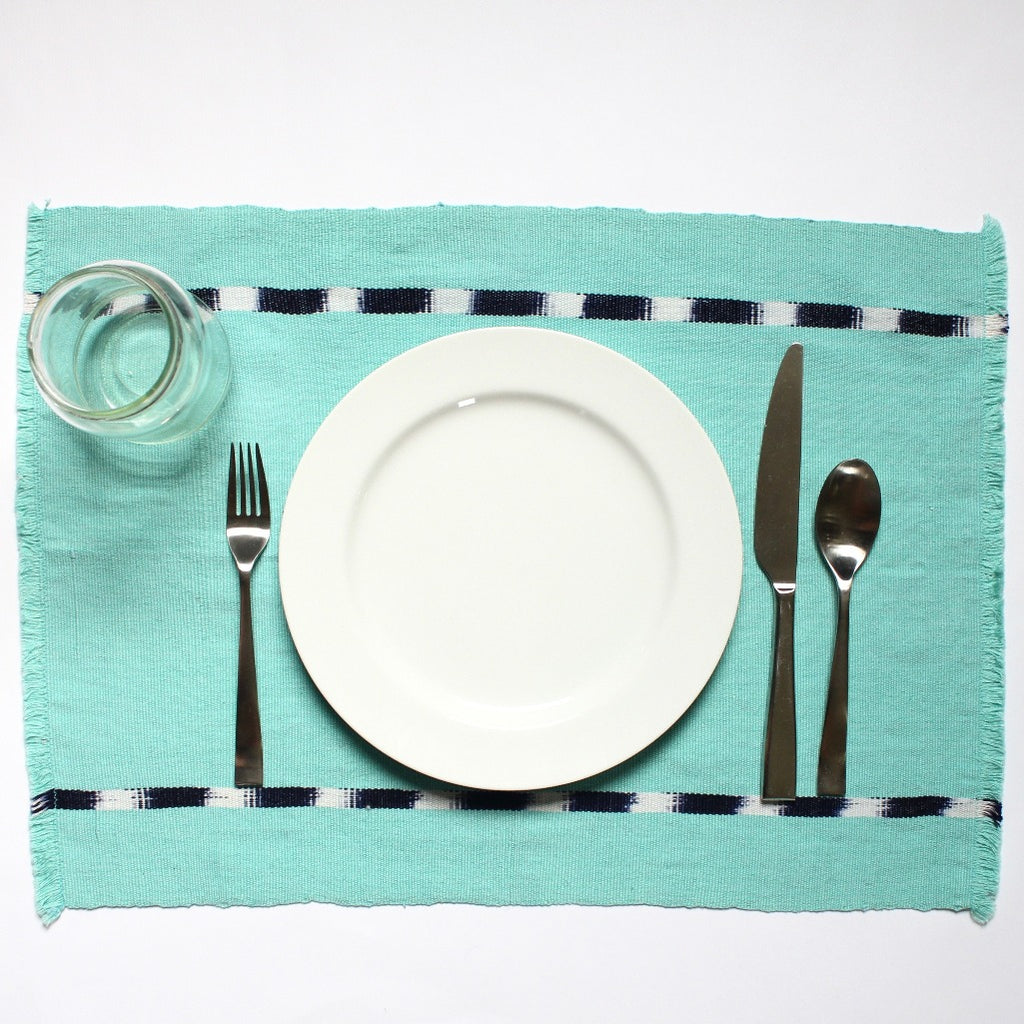 KAT placemats handwoven on mayan backstrap looms in Guatemala by Living Threads Co. artisans in Turquoise