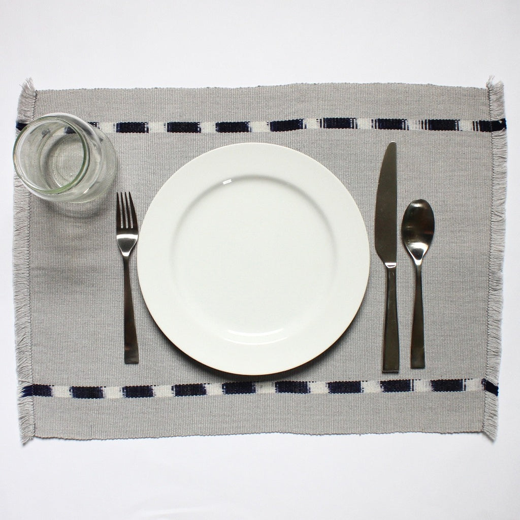 KAT placemats handwoven on mayan backstrap looms in Guatemala by Living Threads Co. artisans in grey