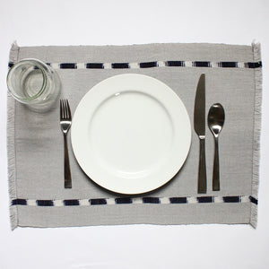 IKAT placemats handwoven on mayan backstrap looms in Guatemala by Living Threads Co. artisans in grey