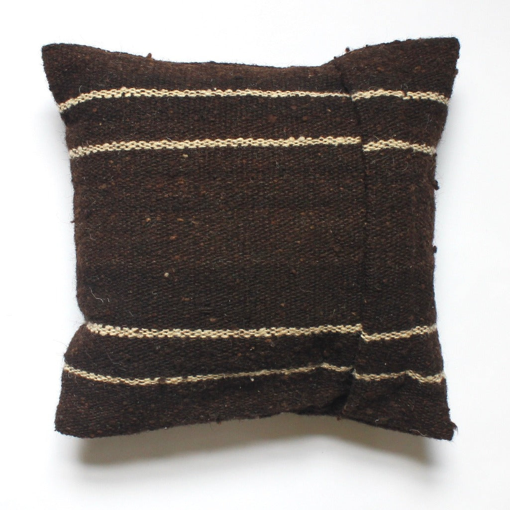 100% wool LANA pillow in dark brown by Living Threads Co. Guatemalan artisans