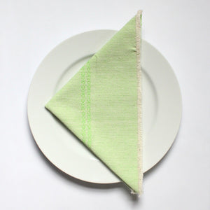 KIARA Handwoven cotton napkins by Living Threads Co. artisans in Lime