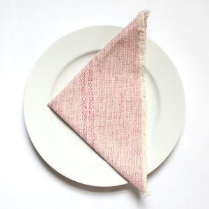 MELI hand woven cotton napkins, set of 4, by Living Threads Co. artisans in fuschia and natural