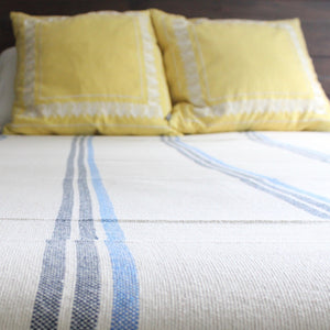 ILDER Handwoven 100% cotton queen blanket in blue stripes by Living Threads Co. artisans