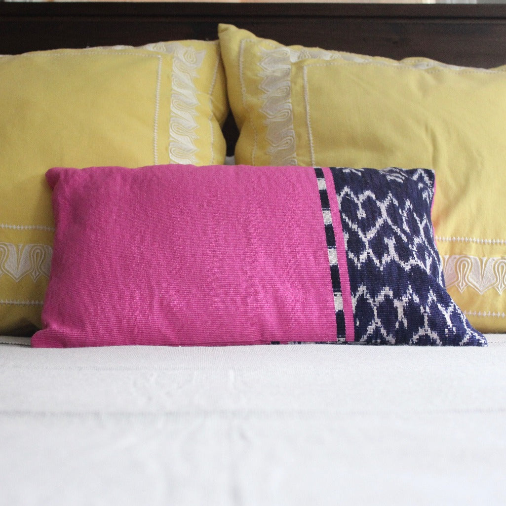 RECTA Lumbar Pillow in Sea handwoven by Living Threads Co. Artisans in Guatemala in Pink with Indigo Blue