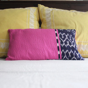 REC Naturally dyed Lumbar Pillow handwoven by Living Threads Co. Artisans in Guatemala with Indigo Blue Ikat design.
