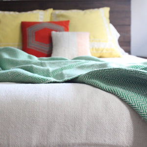 DANELIA Handcrafted herringbone cotton blanket handwoven by our partner artisans in Nicaragua by Living Threads Co. in Green