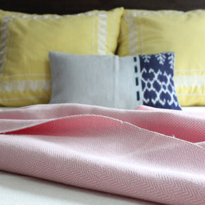 handwoven herringbone 100% ecologically dyed cotton blanket by Living Threads Co. artisans