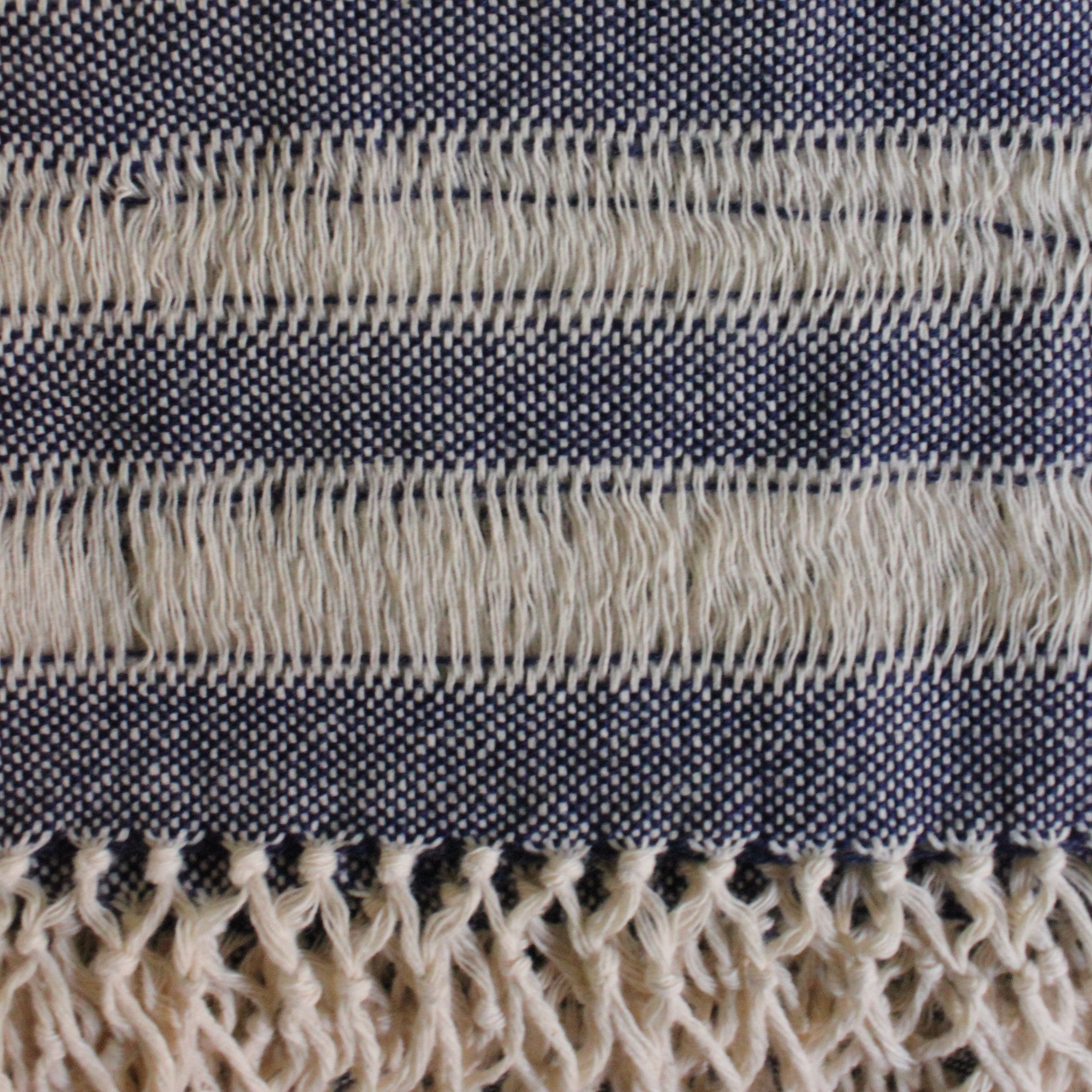 Handwoven cotton scarf handmade in Nicaragua by Living Threads Co. artisans - in Navy Blue