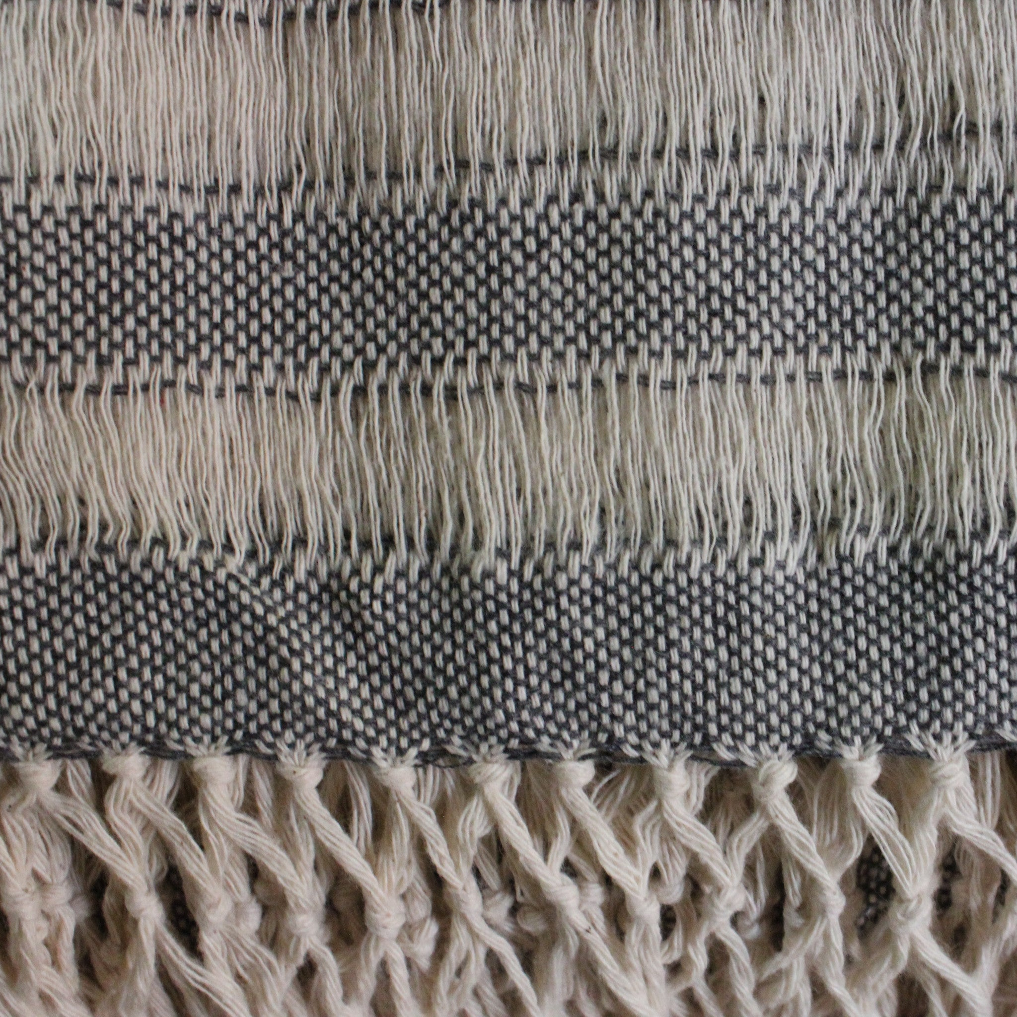 Handwoven cotton scarf handmade in Nicaragua by Living Threads Co. artisan - in grey