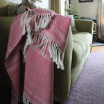Handwoven herringbone cotton throw handmade by Living Threads Co. artisans in red