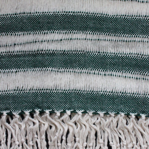 Handwoven cotton scarf handmade by Living Threads Co artisans - in green