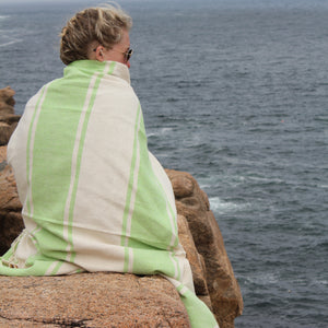 Handwoven AUDAZ 100% cotton blanket by Living Threads Co. in Lime Green