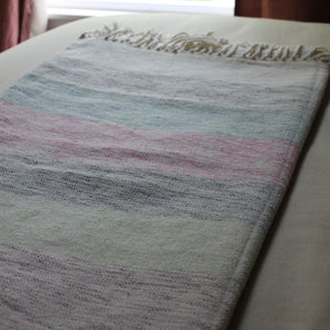 Handwoven cotton artisanal blanket - throw handmade on foot loom by Living Threads Co artisans