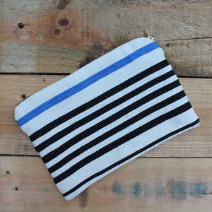Lolá Clutch in Blue & Navy Stripe - by Living Threads Co.