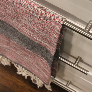 Handwoven LIZABETH hand towels in red and navy by Living Threads Co. artisans