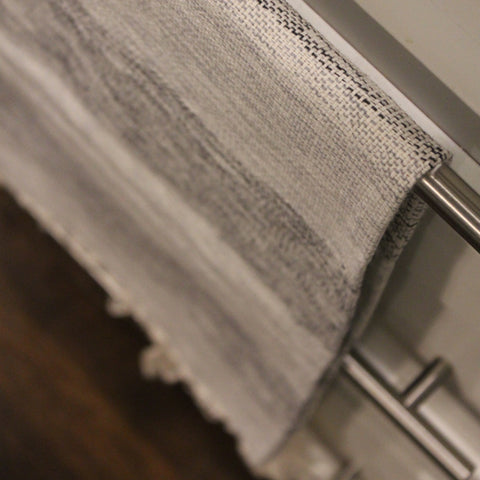 TOAL - Hand towel in grey and black mixed stripe by Living Threads Co.