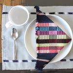 Guatemala handwoven natural dye cotton sustainable placemats by living threads co artisans in Grey and Indigo