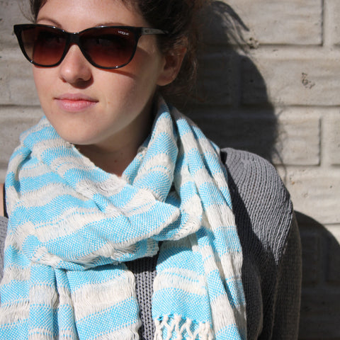 Handwoven cotton scarf / shawl by Living Threads Co artisans