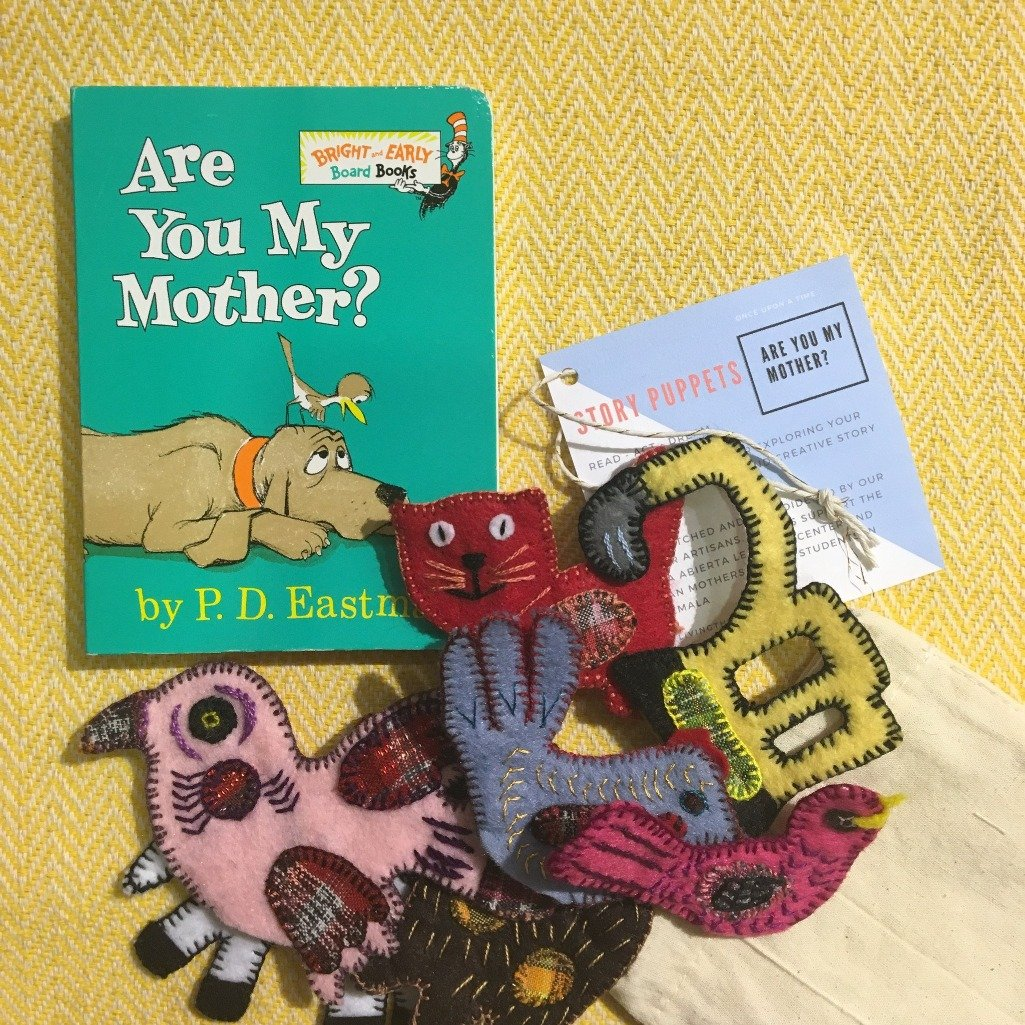 Are you My Mother themed animal puppet set  made with recycled fabric by Guatemalan Living Threads Co. artisans and mothers.