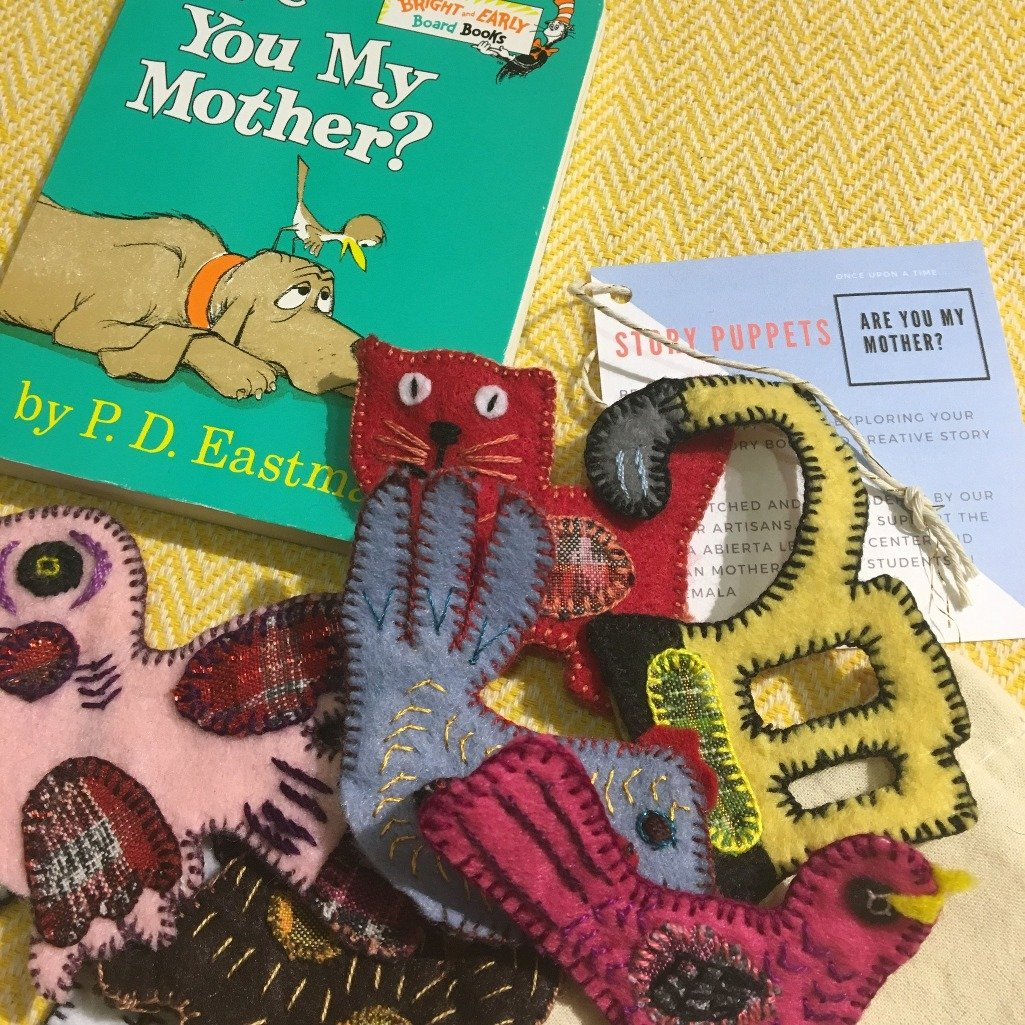 Animal puppet set based on children's book Are You My Mother, made with recycled fabric by Living Threads Co. artisans and mothers.