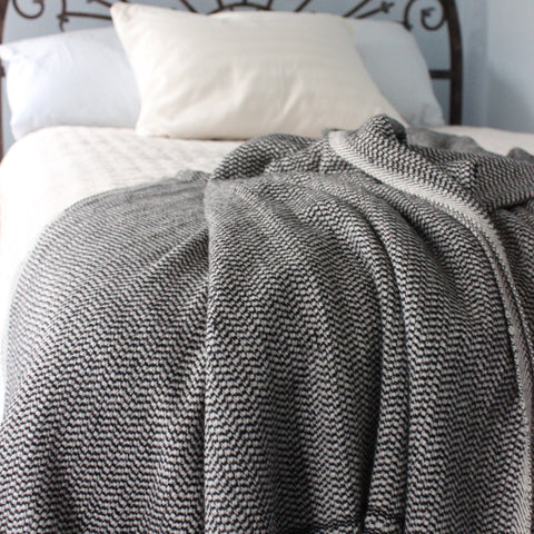 Black - Cashmere handwoven blanket woven in Nepal by Living Threads Co.