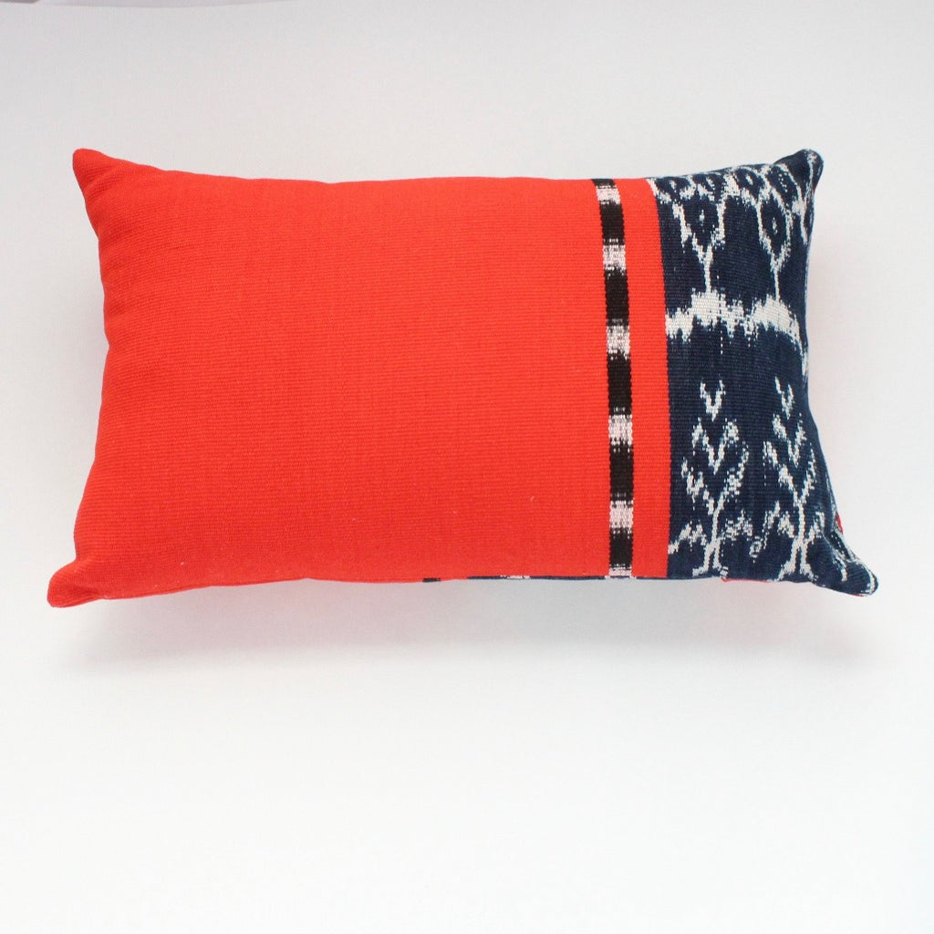Handwoven 100% organically dye  rectangular throw pillow in Achiote by Living Threads Co.