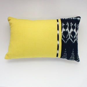 Handwoven 100% organically dye  rectangular throw pillow in Chartreus by Living Threads Co.