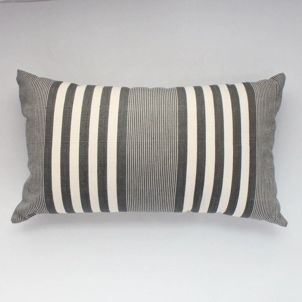 La Basica Hand woven eco dyed cotton pillow by Living Threads Co. artisans in Grey