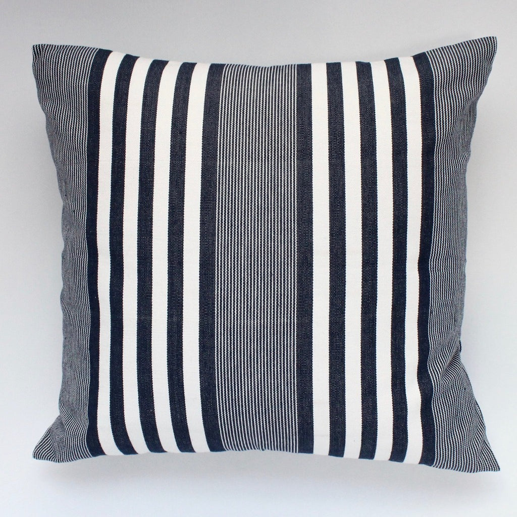 La Basica Hand woven eco dyed cotton pillow by Living Threads Co. artisans in navy