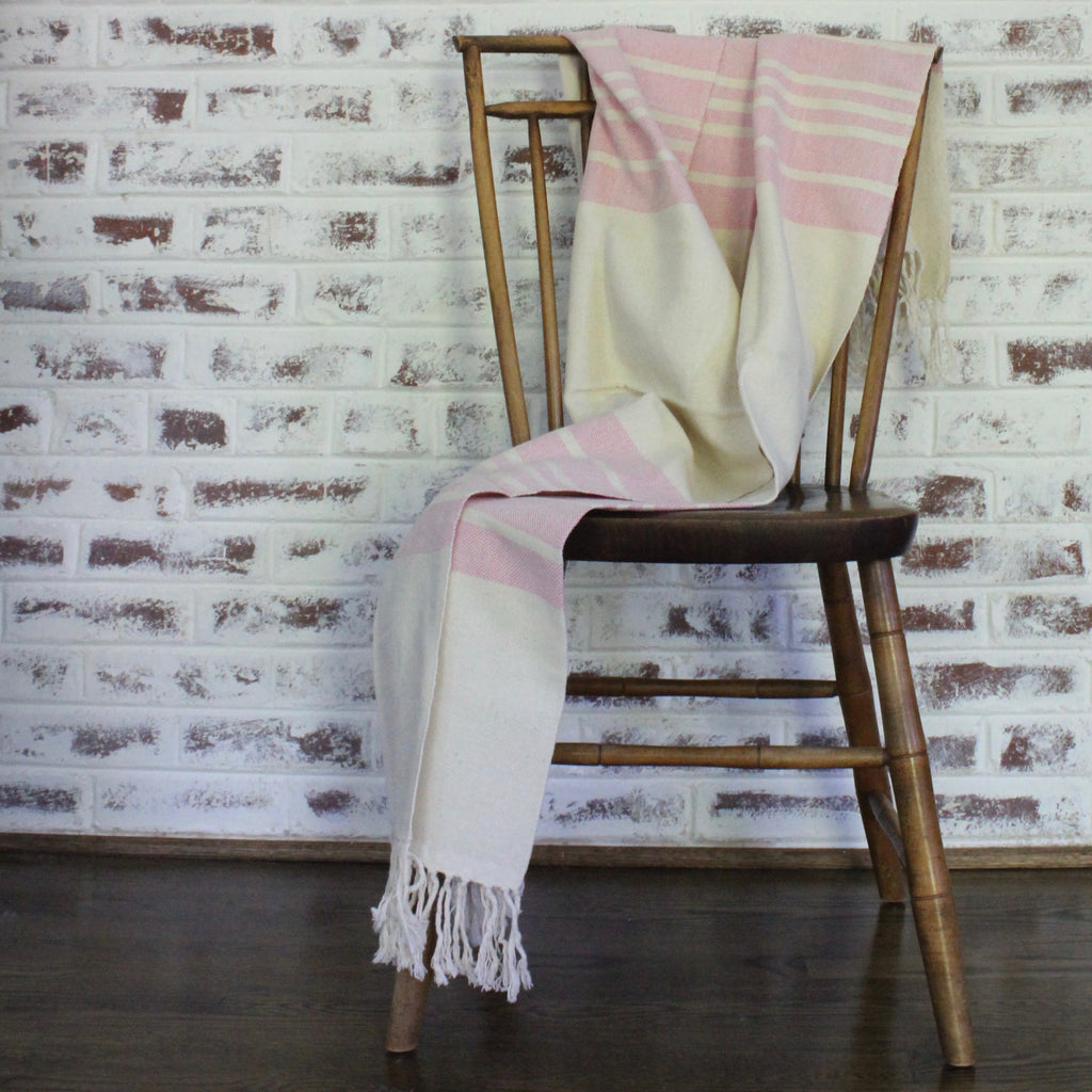 Fangiada Handwoven Throw in Pink Stripe by Living Threads Co.