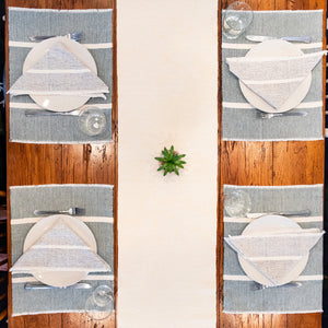 Handwoven table runners by Living Threads Co. in Yellow
