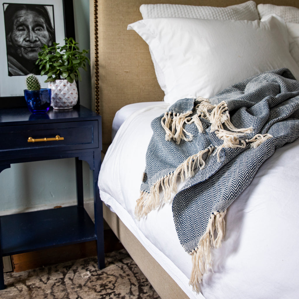 DANELIA herringbone handcrafted throw blanket in navy by Living Threads Co.