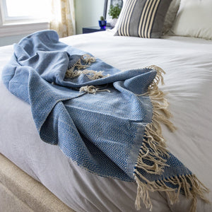 Handcrafted artisanal cotton throw blanket by Living Threads Co. artisans in royal blue