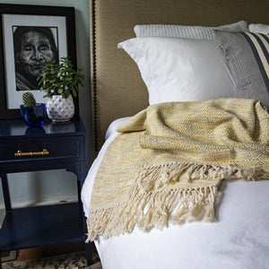 Handmade cotton mixed birdseye throw handmade by Living Threads Co. artisans in Nicaragua in Sand
