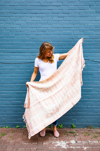 Avocado natural dye blanket by Living Threads Co. Handwoven in Nicaragua, Dyed in the US