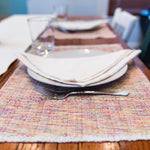 Handwoven cotton LYN placemats in sunset by Living Threads Co