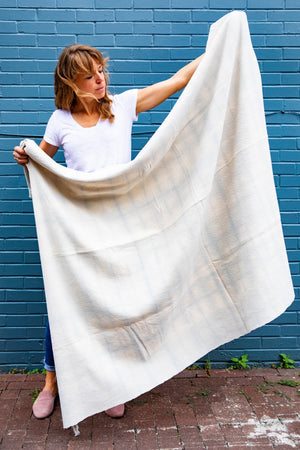 Black bean natural dye blanket by Living Threads Co.