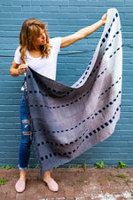 DIPI hand woven natural dye blanket / throw by Living Threads Co. woven in Guatemala in Grey